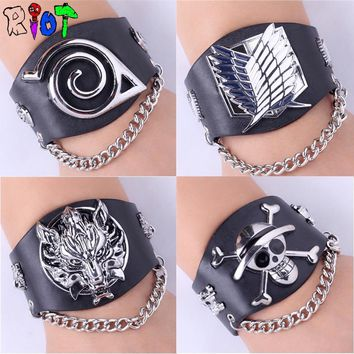 Cool Attack on Titan Anime game One piece Naruto  Final fantasy Wide leather Buckle Rock Punk chain bracelet charms Unisex gift Bangle AT_90_11