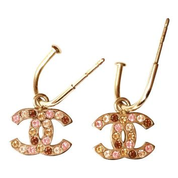 Pre-owned Chanel Multi-Color Crystal Dangle CC Gold Earrings