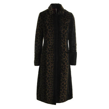 Free People Womens Faux Fur Leopard Print Coat