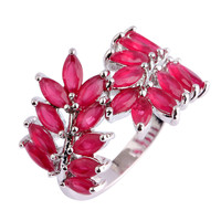 Leaf Shaped Ruby Sterling Silver Ring