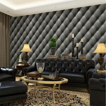 Beibehang European luxury 3D living room imitation leather soft package background wallpaper bedroom wall paper home decor