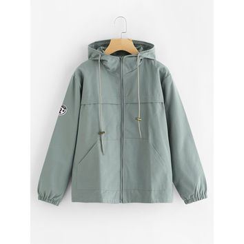 Green Hooded Casual Jacket