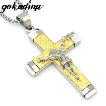GOKADIMA 316L Stainless Steel Jesus Cross Pendant Necklace Men Jewelry 2017 Round Pattern Crucifix Party Christmas Gift WP1979