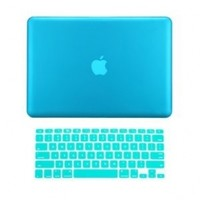 "TopCase ® 2 in 1 Ultra Slim Light Weight Rubberized Hard Case Cover and Keyboard Cover for Macbook Pro 13-inch 13"" (A1278/with or without Thunderbolt) with TopCase ® Mouse Pad (Macbook Pro 13"" A1278, Aqua Blue)"