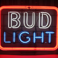 Vintage NEON 3 Color Bud Light Sign, Large, Barware, Mancave, Antique Alchemy