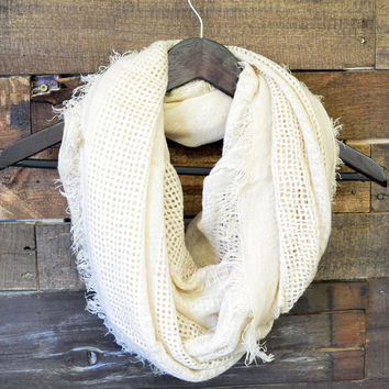 City Scape Oatmeal Frayed Infinity Scarf