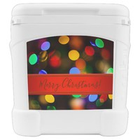 Multicolored Christmas lights. Add text or name. Cooler