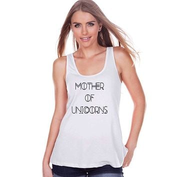 Funny Women's Shirt - Mother of Unicorns - Funny Shirt - Unicorns T-shirt - Womens White Tank Top - Funny Tshirts - Gift for Her Funny Tees