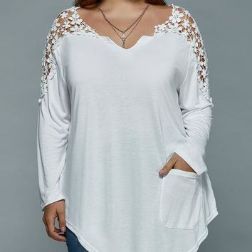 Tops and Tees T-Shirt Gamiss Autumn Women Plus Size T-Shirt Lace Patchwork Long Sleeve Tunic Top Solid Color Loose Asymmetric Top Tee AT_60_4 AT_60_4