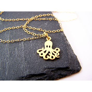 Tiny Octopus Charm Necklace - 14k Gold Fill Necklace - Simple Jewelry - Dainty Necklace - Gold Fill Jewelry - Beach Necklace - Gift for Her