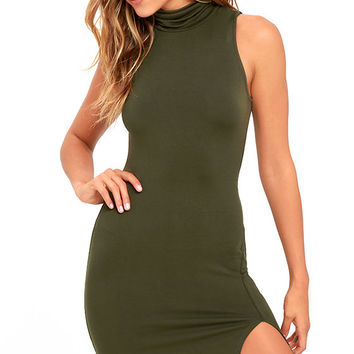 Love It Olive Green Bodycon Dress