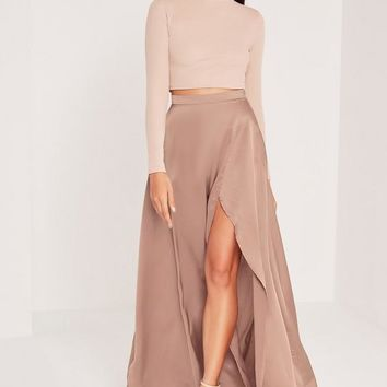 Missguided - Satin Split Side Maxi Skirt Nude