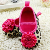 2017 Cute Kids Girl Leopard Baby Shoes Peony Flower Infant Toddler Crib Shoes 0-18M