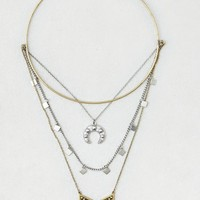 AEO Women's Layered Charm Necklace (Mixed Metal)