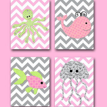 Sea Whale Fish Octopus Baby Girl Nursery Decor Children Art Print Baby Nursery Print Nursery Art set of 4 8x10 Rose Pink Green Gray Baby Art