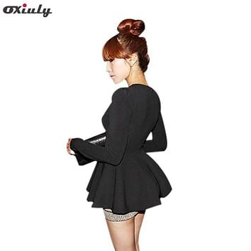 Oxiuly Women Casual V Neck Long Puff Sleeve Blouse Shirts Peplums Slim Fit Cute Umbrella Tops