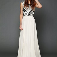 Free People Beaded Silk Chiffon Gown