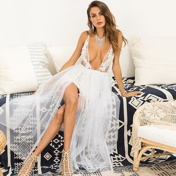 Sexy V-Neck Lace Party Dress White Mesh Dress Women Strap Backless Plus Size Elegant Long Maxi Dresses