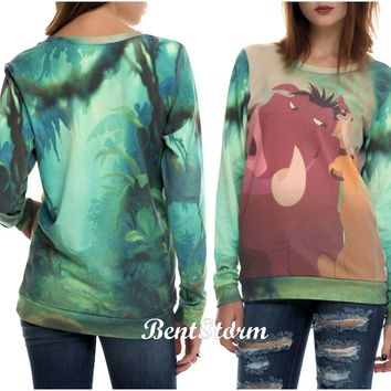 Licensed cool NEW Disney The Lion King TRIO Timon Pumbaa Simba Ladies Pullover Top Sweatshirt