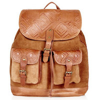 Embossed Suede Backpack - Backpacks - Bags & Wallets  - Bags & Accessories