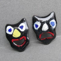Vintage Modernist 1950's Enamel on Copper Black Comedy Tragedy Theater Mask Pins