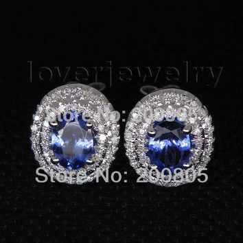 14KT White Gold Luxury Vintage Oval 5x7mm Natural Diamond Tanzanite Stud Earrings