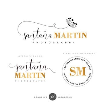 Premade Branding Kit, Dandelion logo, Photography logo, Blog logo, Watermark, Gold logo, Logo Design, Stamp, Branding kit, Logo package, 29
