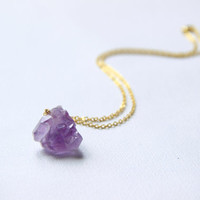 Gemstone Amethyst Necklace - Purple Amethyst Pendant - Raw Stone Necklace - Druzy