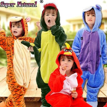 HKSNG Winter Kids Flannel Animal Pikachu Totoro Eeyore Pig Tiger Cat Giraffe Unicorn Pajamas Onesuits Cosplay Costume Kiguruma