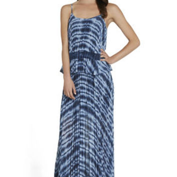 Pleated Cami Maxi Dress in Black/Blue - BCBGeneration