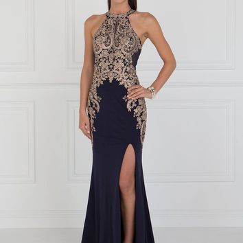 Seductive Navy evening gown with slit  GLS 1519N