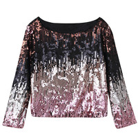 Pink Sequined Long Sleeve Blouse