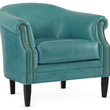 Hyde Leather Chair, Turquoise, Club Chairs