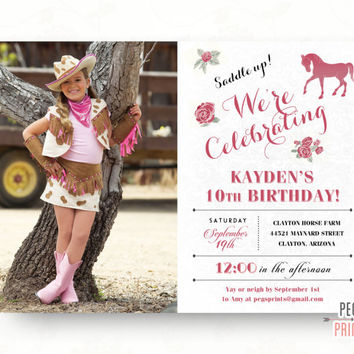 Horse Birthday Invitation // Tween Birthday Invitations // Printable Cowgirl Birthday Invitation // Pony Party Invitation