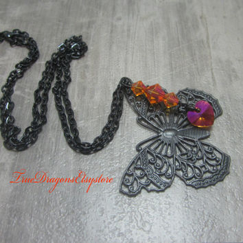 Butterfly Necklace Black Filigree Butterfly Brass Charm Orange Swarovski Elements Bicones and Heart Monarch Butterflies