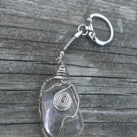 Clear Quartz Crystal key chain - Gemstone Key chain - boho key chain -  gypsy key chain - hippie key ring - chakra stone keychain