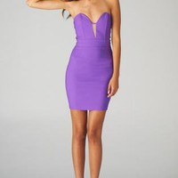 Purple Strapless Bodycon Dress with Mesh Front Insert