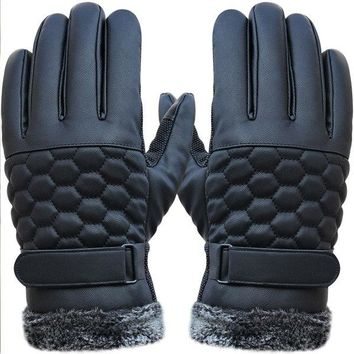Outdoor Sport Driving PU Leather Grid Gloves Screen Touch Skidproof Windproof Mittens