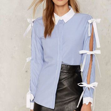 Tie In Cut-Out Shirt