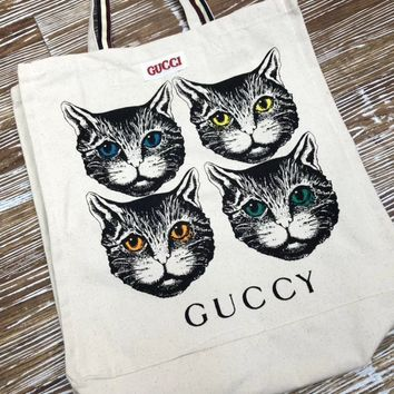 """Gucci"" Women Casual Fashion Four Cat Head Letter Pattern Canvas Single Shoulder Handbag Tote Shopping Bag"