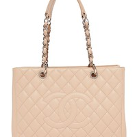 What Goes Around Comes Around Women's Chanel Caviar Bag (Previously Owned), Beige, One Size