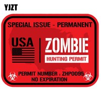 YJZT 11.5x8.6cm Fashion USA ZOMBIE Hunting Permit Retro-reflective Car Stickers Accessories Decals C1-8068
