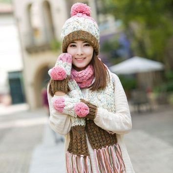 ONETOW Knitted hat scarf gloves three pieces set one piece color block decoration muffler scarf girls winter birthday christmas gift