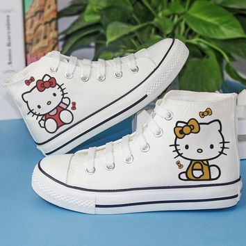 Girls Boys Classic Canvas Shoes Kids Children Hello KT Cat Cartoon Print Sneakers Funny Shoes Handmade Painting High Top Shoes