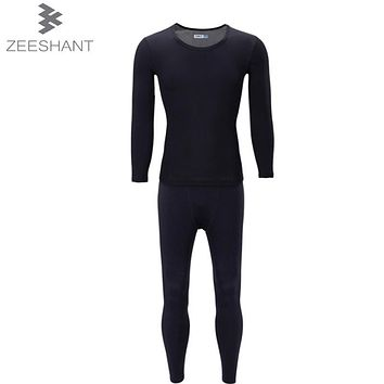 ZEESHANT Thermal Energy Reflection Technology To Keep Warm Stretch Black Men's Thermo Underwear Male Warm Long Johns XXL
