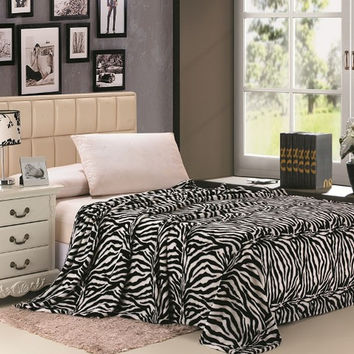 Safari Animal Print Ultra Soft Black & White Zebra Queen Size Microplush Blanket
