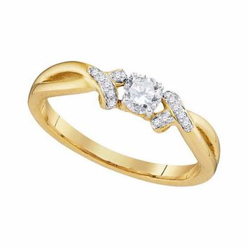 10kt Yellow Gold Womens Round Diamond Solitaire Twist Bridal Wedding Engagement Ring 1/3 Cttw