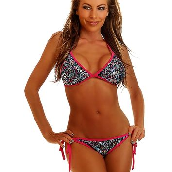 Confetti Sequin Pucker Back Bikini