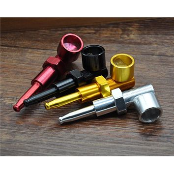 1 X 75 MM Aluminum Screw Metal Pipe Tobacco Smoking Pipes Creative Disguise Pipe Hand Portable Pipe. Color Random