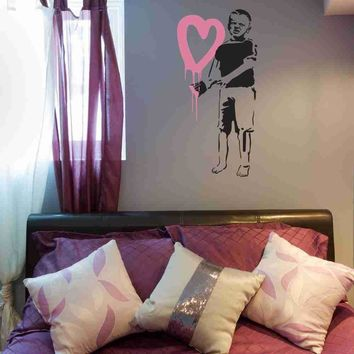 Big Hearted Boy Banksy Wall Decal Sticker